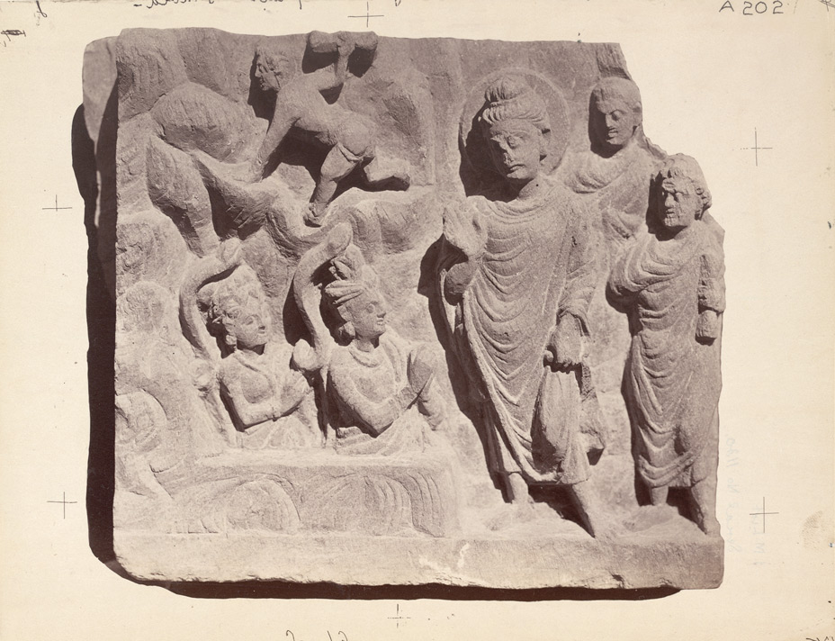 Sculpture slab from Rhode Tope, Sanghao, Peshawar District: Buddha meeting a Naga king
